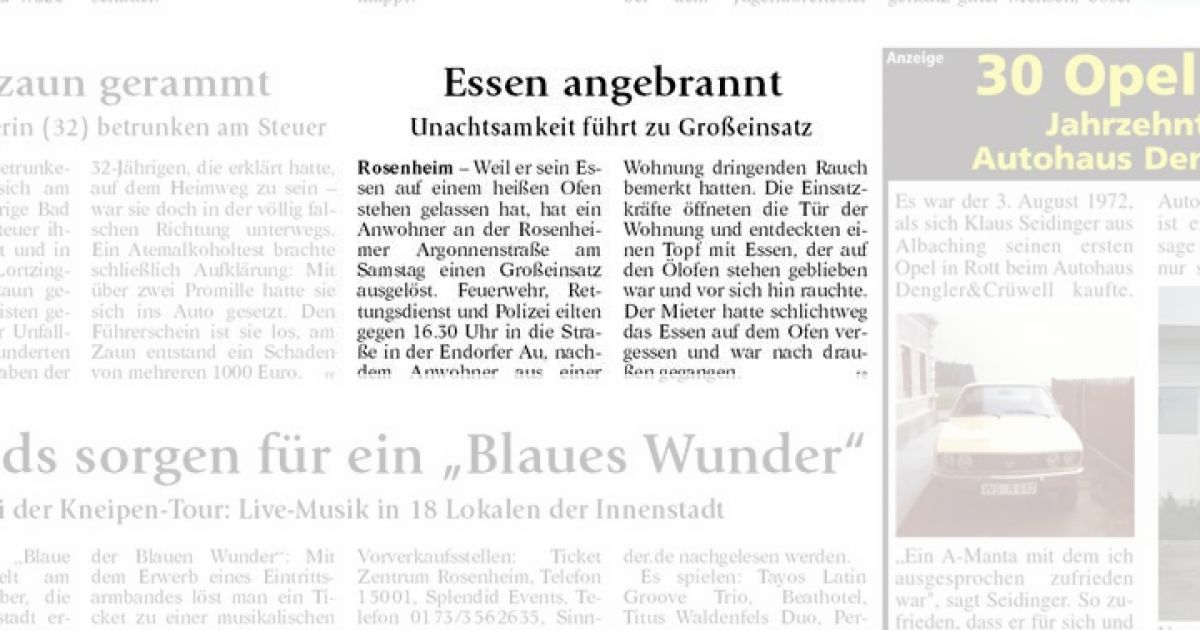4760e0c9caac16 Essen angebrannt - OVB Heimatzeitungen