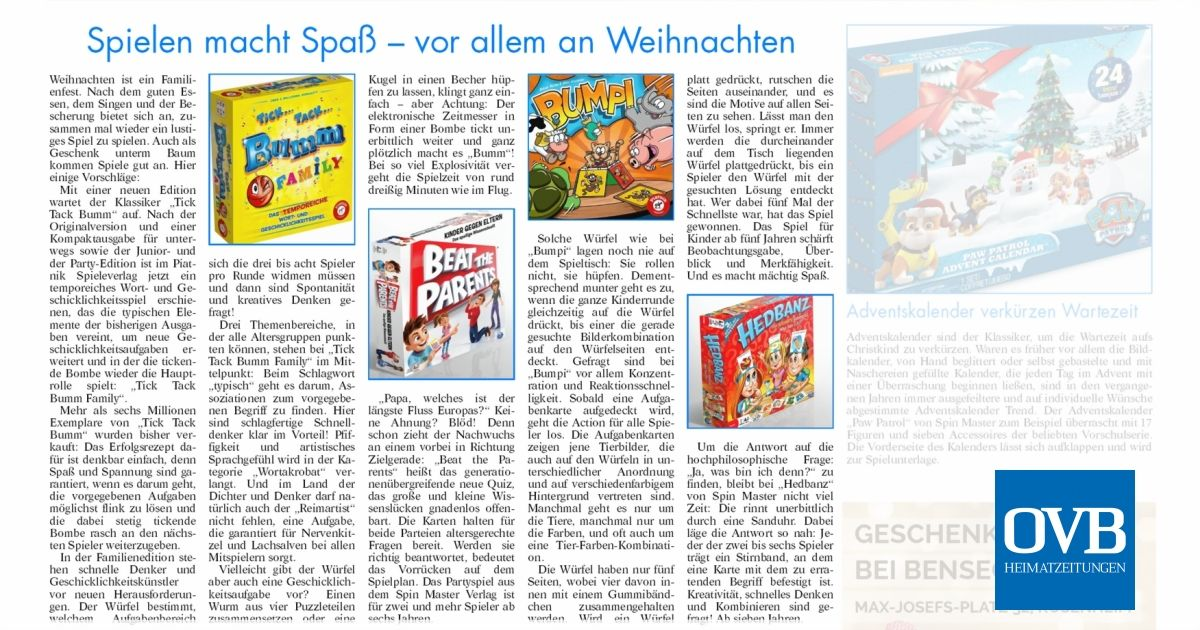Spielen macht Spaß – vor allem an Weihnachten - OVB Heimatzeitungen