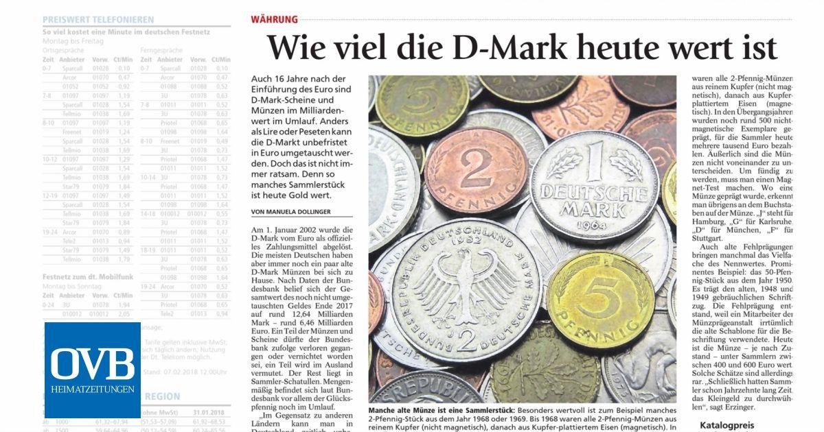 Wie Viel Die D Mark Heute Wert Ist Ovb Heimatzeitungen