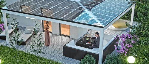 Der mit dem Solardach erzeugte Strom wird im eigenen Haus kostenfrei genutzt, überschüssiger Strom wird gespeichert, bis er gebraucht wird – zum Beispiel für die Gartenbeleuchtung am Abend. Foto  djd/www.carporte.de