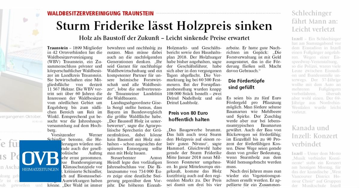 Sturm Friderike Lässt Holzpreis Sinken Ovb Heimatzeitungen