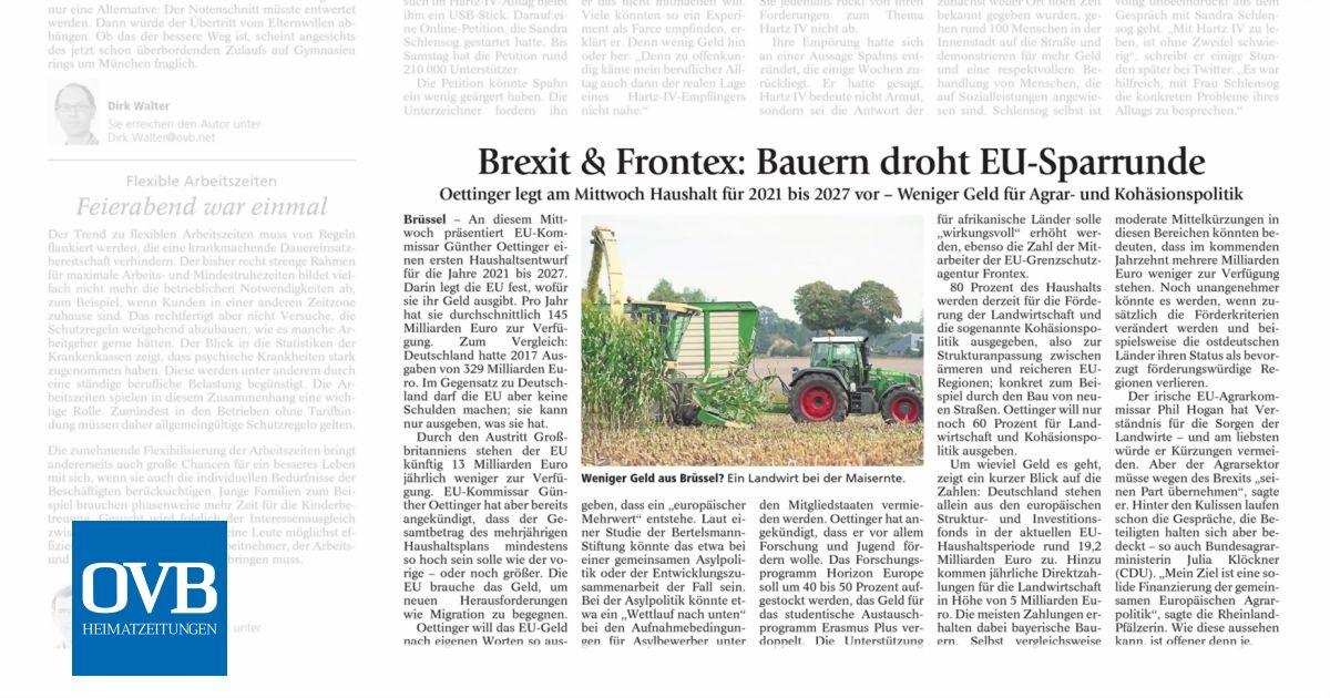 Brexit & Frontex: Bauern droht EU-Sparrunde - OVB Heimatzeitungen