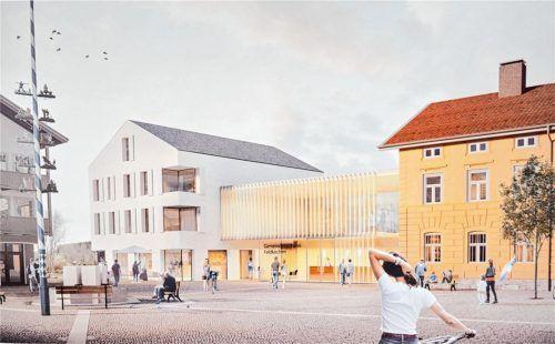 Der Siegerentwurf sieht unter anderem einen hellen Verbindungsbau zwischen der Bücherei (rechts) und einem neu zu bauenden Geschäfts- und Wohnhaus sowie in diesem ein Café in Richtung des Dorfplatzes vor. Fotos Bernard