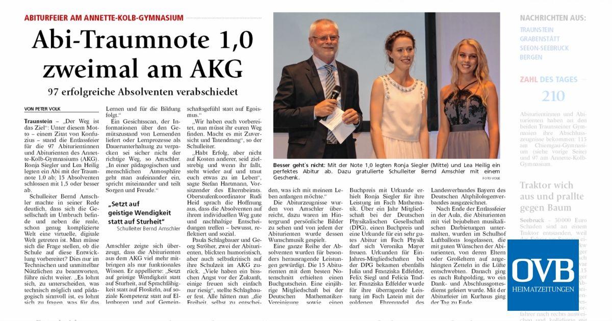 Abi Traumnote 10 Zweimal Am Akg Ovb Heimatzeitungen