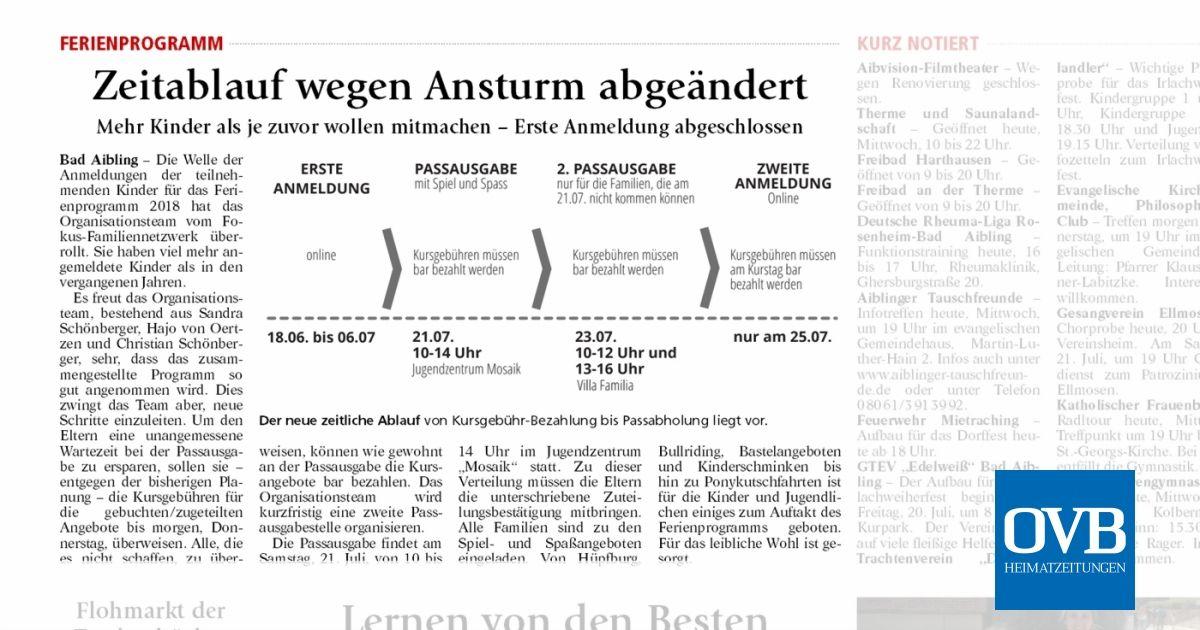 Zeitablauf wegen Ansturm abgeändert - OVB Heimatzeitungen