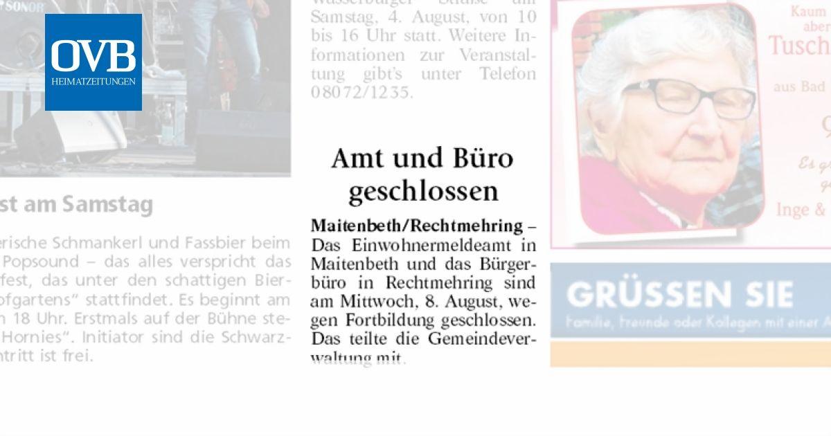 Amt Und Buro Geschlossen Ovb Heimatzeitungen
