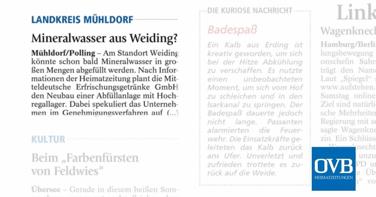 Mineralwasser aus Weiding? - OVB Heimatzeitungen