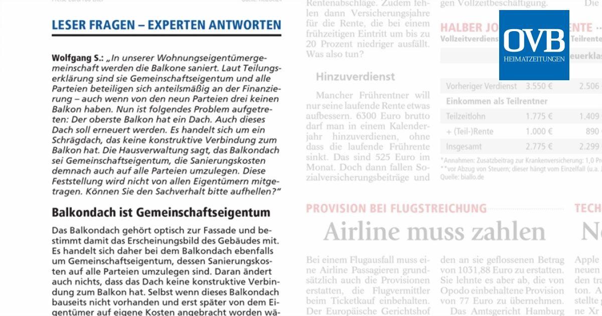 Balkondach Ist Gemeinschaftseigentum Ovb Heimatzeitungen