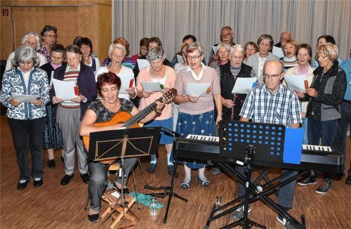 Walter Ganßer am Keyboard und Waltraud Reich mit Gitarre leiten die gemeinsamen Singstunden in Christkönig. Foto Schlecker