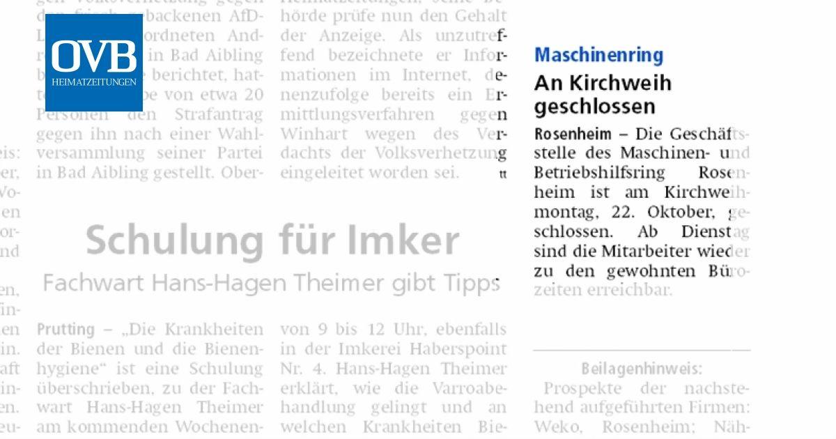 An Kirchweih Geschlossen Ovb Heimatzeitungen
