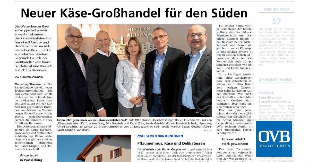 Neuer Käse Großhandel Für Den Süden Ovb Heimatzeitungen