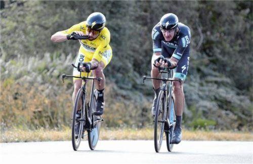 Peter Sagan vom Team Bora-hansgrohe im Gelben Trikot mit Marcus Burghardt, seinem Edelhelfer vom Samerberg.