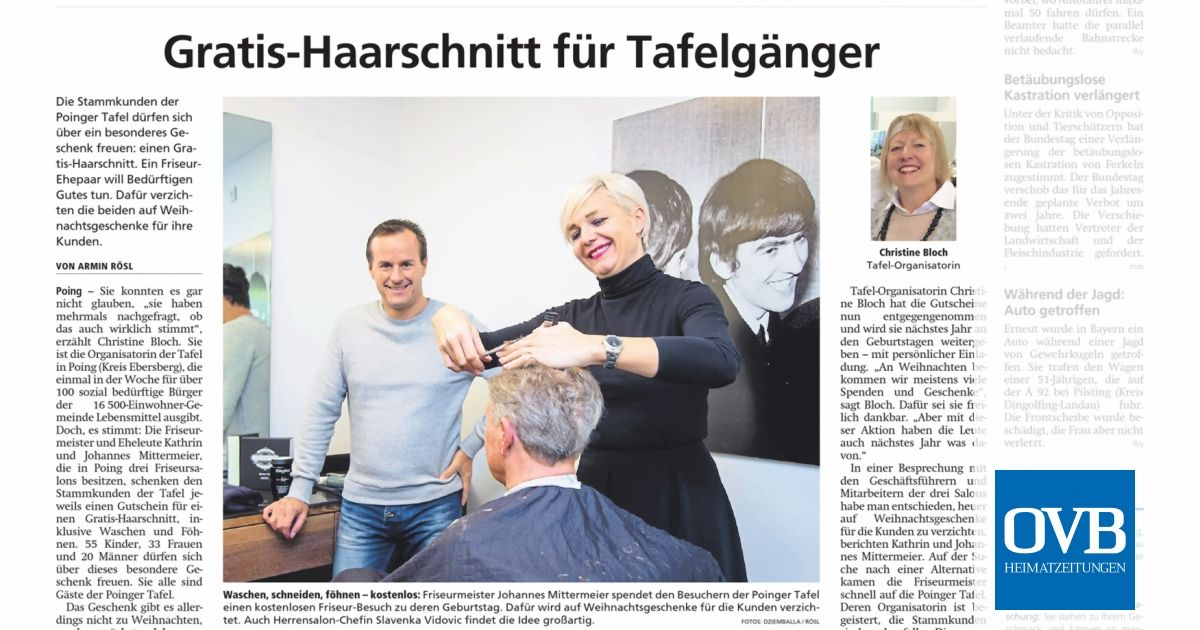 Weihnachtsgeschenke Für Kunden Friseur.Gratis Haarschnitt Für Tafelgänger Ovb Heimatzeitungen