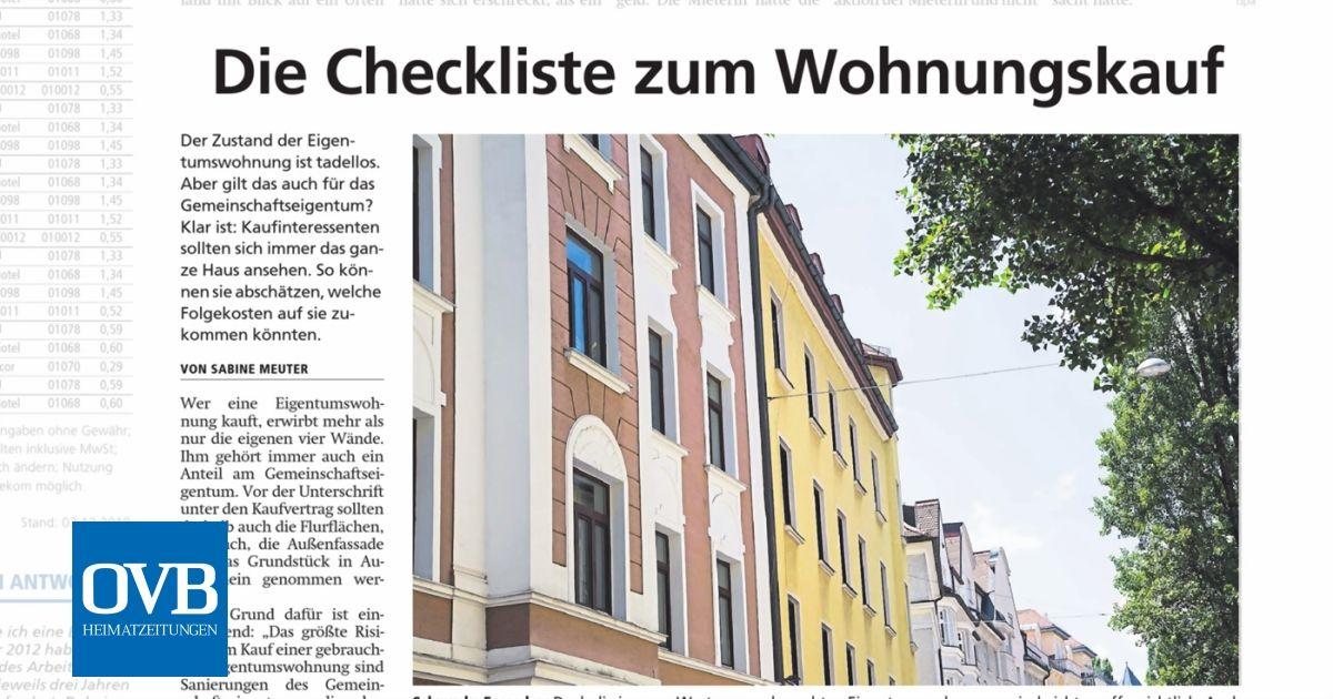 Die Checkliste Zum Wohnungskauf Ovb Heimatzeitungen