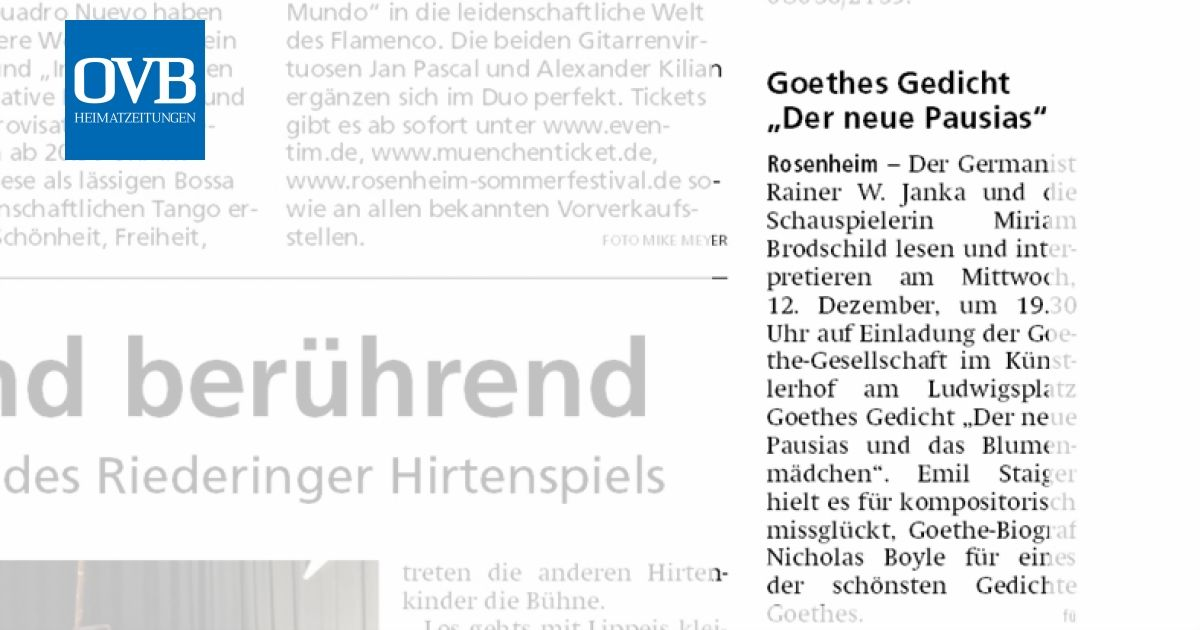 Goethes Gedicht Der Neue Pausias Ovb Heimatzeitungen