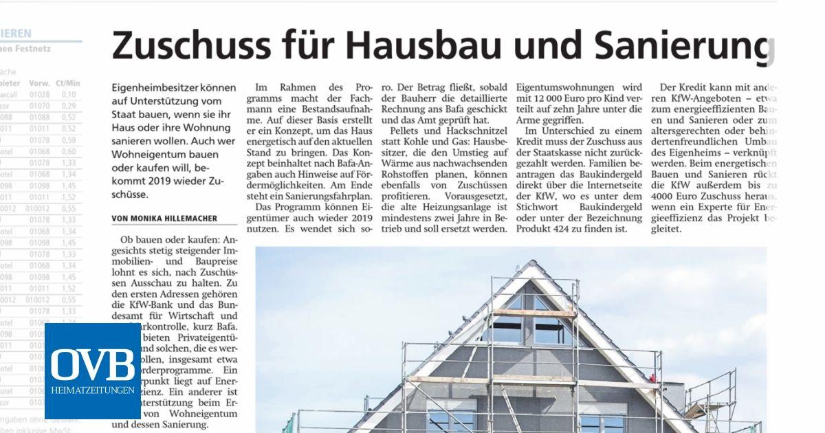 Zuschuss für Hausbau und Sanierung - OVB Heimatzeitungen