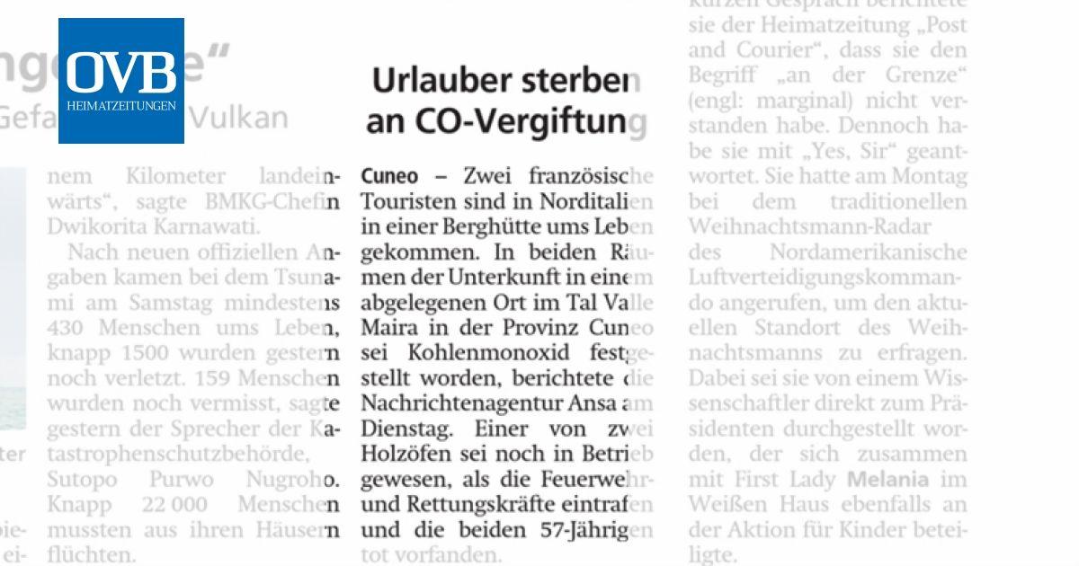 Urlauber Sterben An Co Vergiftung Ovb Heimatzeitungen
