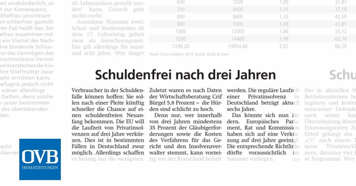 Schuldenfrei Nach Drei Jahren Ovb Heimatzeitungen