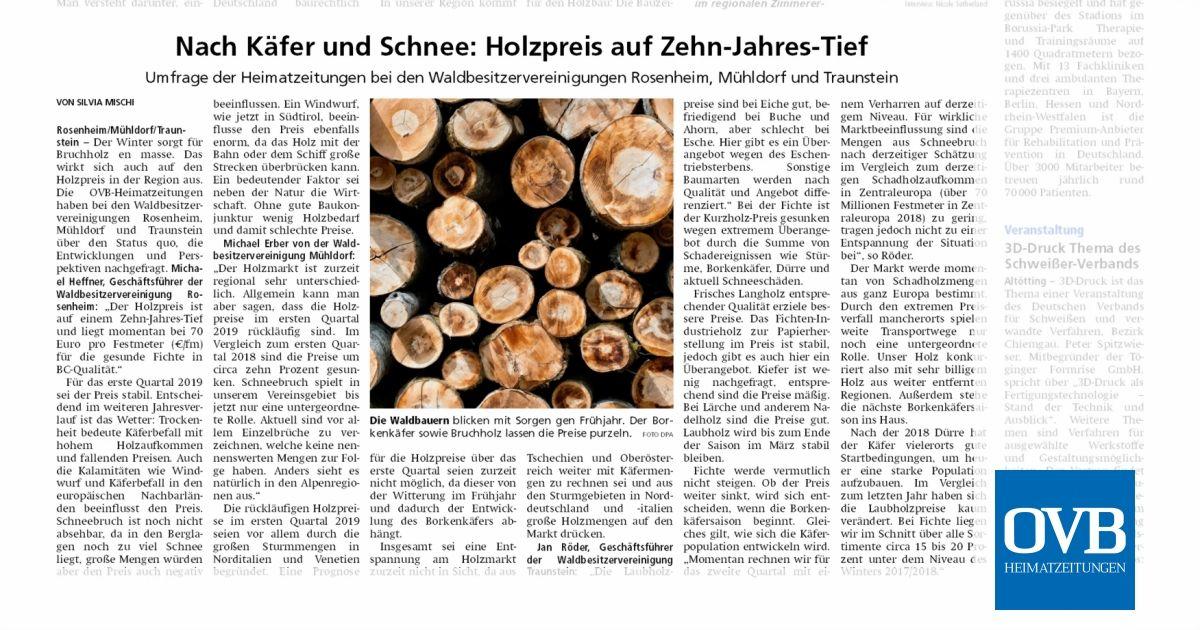 Nach Käfer Und Schnee Holzpreis Auf Zehn Jahres Tief Ovb