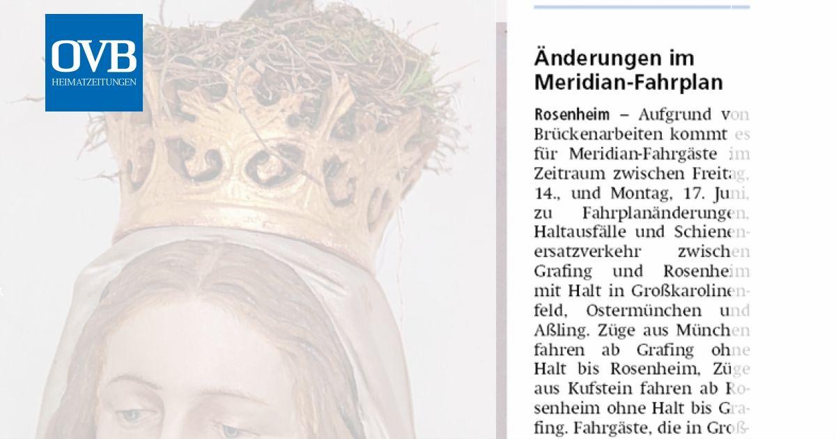 änderungen Im Meridian Fahrplan Ovb Heimatzeitungen