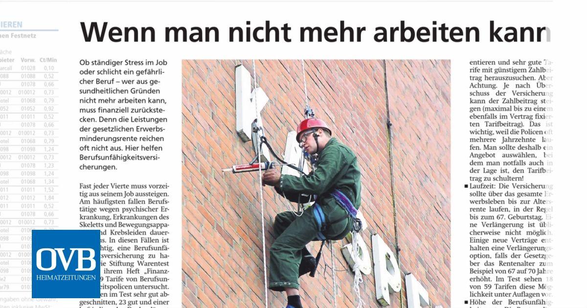 Wenn man nicht mehr arbeiten kann - OVB Heimatzeitungen