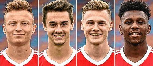 Vier Neuzugänge für den Fußball-Regionalligisten TSV 1860 Rosenheim (von links): Niclas Anspach (19), Christoph Ehlich (20), Alexander Kaltner (20) und Stephan Mensah (19) wurden von der SpVgg Unterhaching an Kooperationspartner ausgeliehen. Fotos  SpVgg Unterhaching