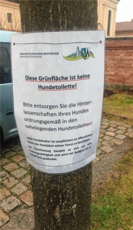 Diese Hinweisschilder sind auf dem kleinen Grünstreifen neben der Feldkirchner Kirche zu finden.