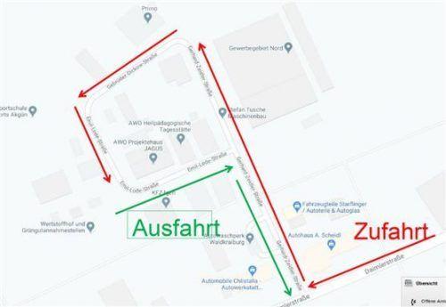 Geordnete Zufahrt für den Wertstoffhof Waldkraiburg.