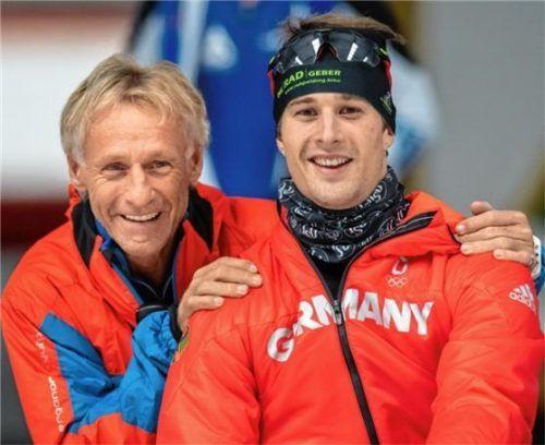 Pino Dufter und sein Sohn Joel,hoffen auf Sommereis in der Max-Aicher-Arena in Inzell. Foto  Wukits