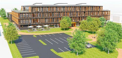 Blick auf die neue St.-Georg-Schule mit der ansatzweise im Hintergrund zu sehenden neuen Zweifachturnhalle. VISUALISIERUNG Obel Architekten