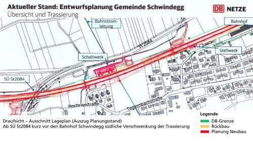 Damit die Züge eine Geschwindigkeit von 200 Kilometern pro Stunde erreichen können, wurde die Ausbautrasse bei Schwindegg zuletzt noch einmal leicht nach Süden verschwenkt.  DB Netze/OVB/Klinger