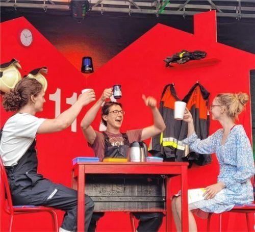 Daniel Farnbacher, Christoph Brandl und Evelyne Ernstein (von links) bei der Probe. Foto Müller