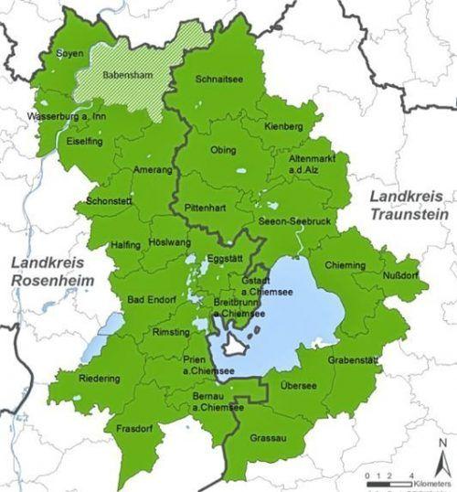 Das nun erweiterte Gebiet der Leader-Region Chiemgauer Seenplatte. Schraffiert ist Babensham, das erst 2023 beitritt.LAG Chiemgauer-Seenplatte