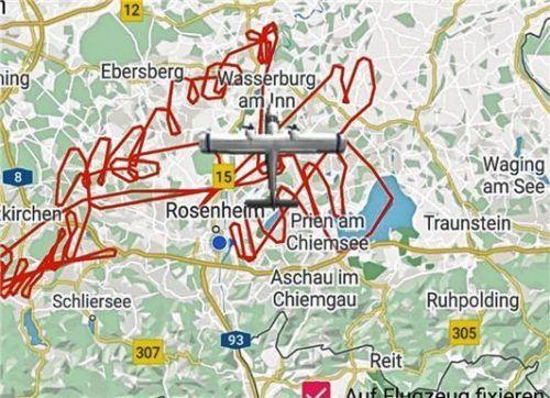Die Flugspur zeigt, wie viel die Piloten geflogen sind. Foto Google/Roberta-App