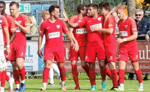 Die Rot-Weißen vom TSV Buchbach wollen auch heute in Aschaffenburg jubeln. Foto Michael Buchholz