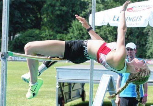 Die Wasserburgerin Lara Mößthaler siegte im Hochsprung mit der DM-Norm von 1,70 Metern.Fotos Ludwig Stuffer