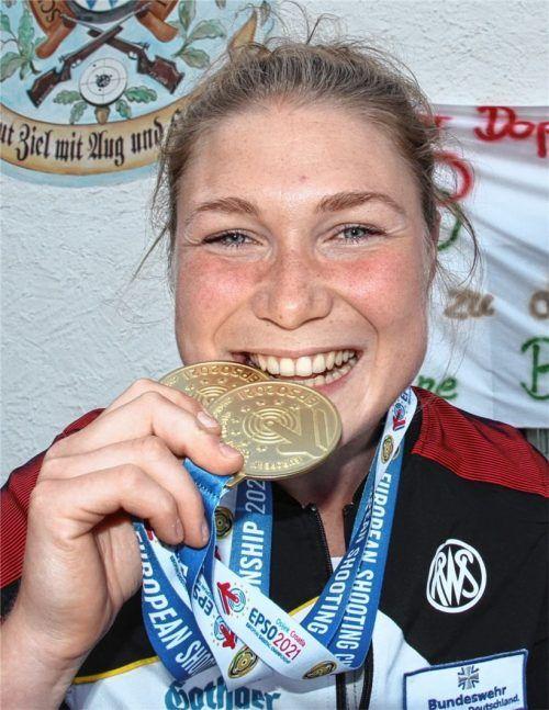 Ja, es ist echtes Gold: Carina Wimmer kehrte von der EM in Kroatien mit zweimal Edelmetall heim. Nun nimmt sie an den Olympischen Spielen in Tokio teil.Foto Enzinger