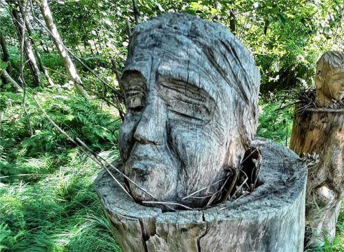 """Mit der Aktion """"Kunst für den Wald"""", bei der Markus Oettl """"Baumseelen"""" (unser Bild) schuf, setzten die Gegner der geplanten Deponie in Odelsham ein Zeichen. Foto Rieger"""
