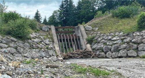 Bei einem Jahrhunderthochwasser ist diese Sperre bis an den Rand gefüllt. Der Rechen soll das Holz zurückhalten, das Wasser darüber abfließen.