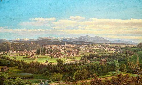 Stadtansicht mit Eisenbahnviadukt von Max Laimgrub von 1885. Foto Stadtmuseum