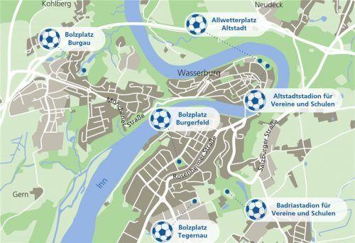 Unsere Karte zeigt, wo in der Stadt Bolzplätze zum freien Kicken einladen. Das Altstadtstadion ist, anders als das Badriastadion, – noch – frei zugänglich.Klinger/OVB