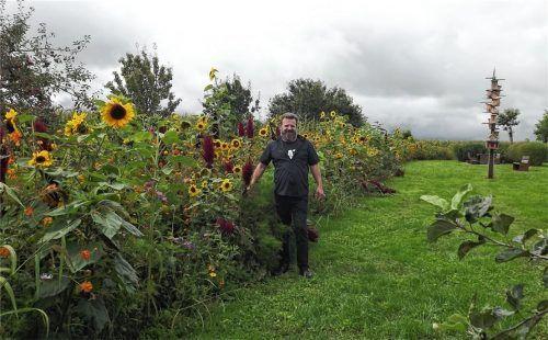 Ein Paradies nicht nur für Bienen: Josef Petermeier an einem von sechs langen Blumenbeeten mit Gräsern und Getreidesorten. Foto  Jaensch