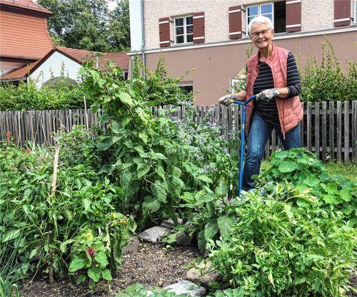 """""""Ein Wunsch ist mit dem Garten-Ehrenamt in Erfüllung gegangen"""", schwärmt Ursula Herr, die sich seit einem Jahr um den Garten am Bürgerhaus kümmert. Die 80-Jährige ist vor etwa zwei Jahren nach Kolbermoor gezogen und schwärmt nicht nur von ihrem Ehrenamt, sondern auch von ihrer Wahlheimat. Foto Weinzierl"""