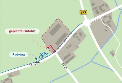 Grundsätzlich hatte der Stadtrat keine Einwände gegen die Planungen. Diskussionen gab es, weil die neue Einfahrt in der Verlängerung der Kreisstraße MÜ6 den bestehenden Radweg kreuzt.Foto Stadt Neumarkt-St. Veit