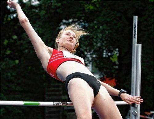 Laura Borchert aus Waldkraiburg wurde Vizemeisterin im Siebenkampf der Juniorinnen U23.Foto Ludwig Stuffer