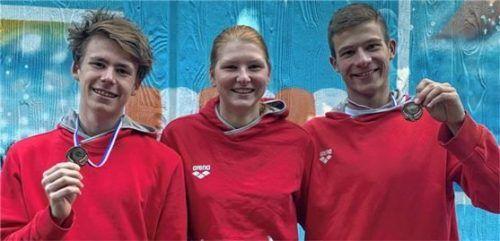 Das erfolgreiche Rosenheimer Trio: Adrian Lechertshuber, Maria Lengauer und Sebastian Hörnig (von links).Foto TSV 1860