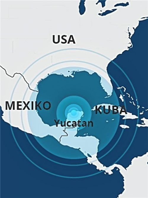 Der Asteroideneinschlag im heutigen Mittelamerika markiert das Ende der Kreidezeit. Er führte zum weltweiten Aussterben der Dinosaurier.Fotos VKR/Atelier Hammerl&Dannenberg