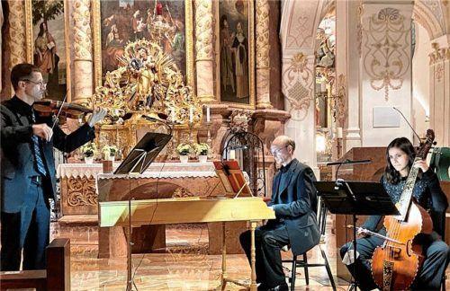 """Die """"Rosenkranz-Sonaten"""" wurden gespielt von Simon Steinkühler, Markus Hanke und Annalisa Pappano (von links).Foto Janka"""