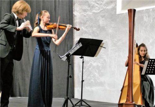 Diese jungen Musiker beeindruckten: (von links) Fabian Johannes Egger, Elisabeth Pihusch und Daria-Christiana Vacaroiu. Foto Janka