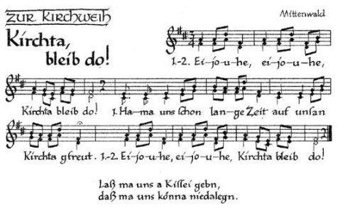 """Fast archaisch wirkt der lautstarke Gesang des aus Mittenwald stammenden Kirchweihliedes """"Kirchta bleib do!""""  re"""
